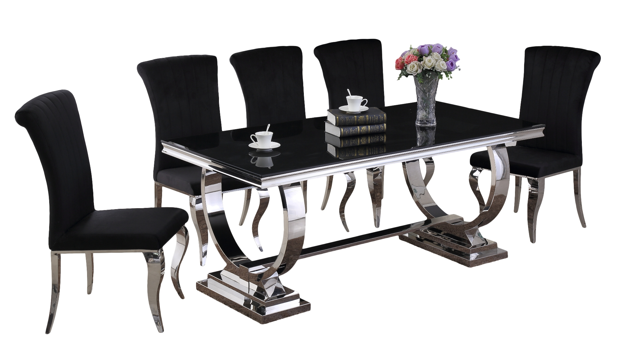 Venice Black Dining Table DT-813BL & Liyana Black Chair CH-891BL (White Background)