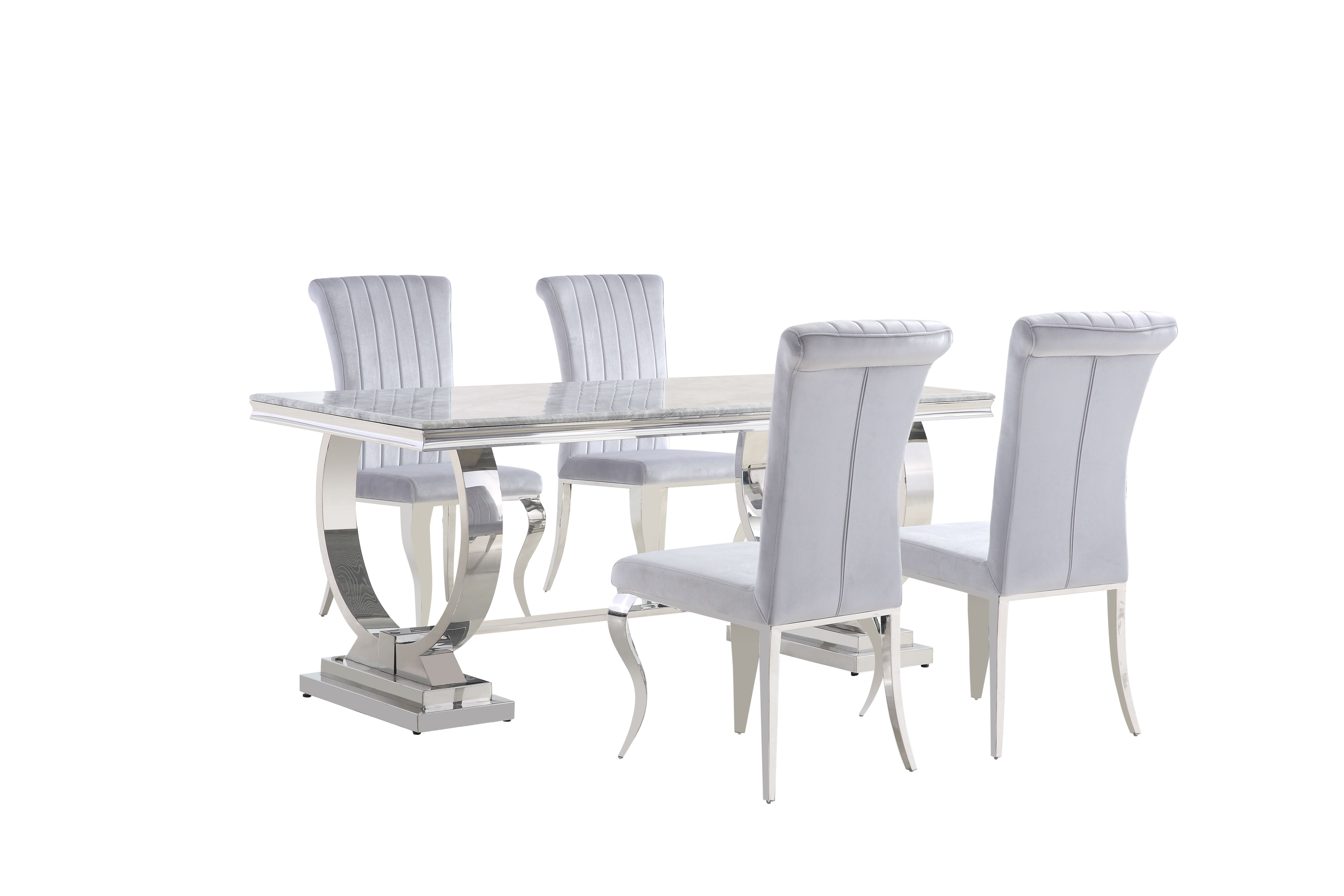 Venice Marble Table DT813MA & Liyana Grey Chair CH-891GR (Image 1)