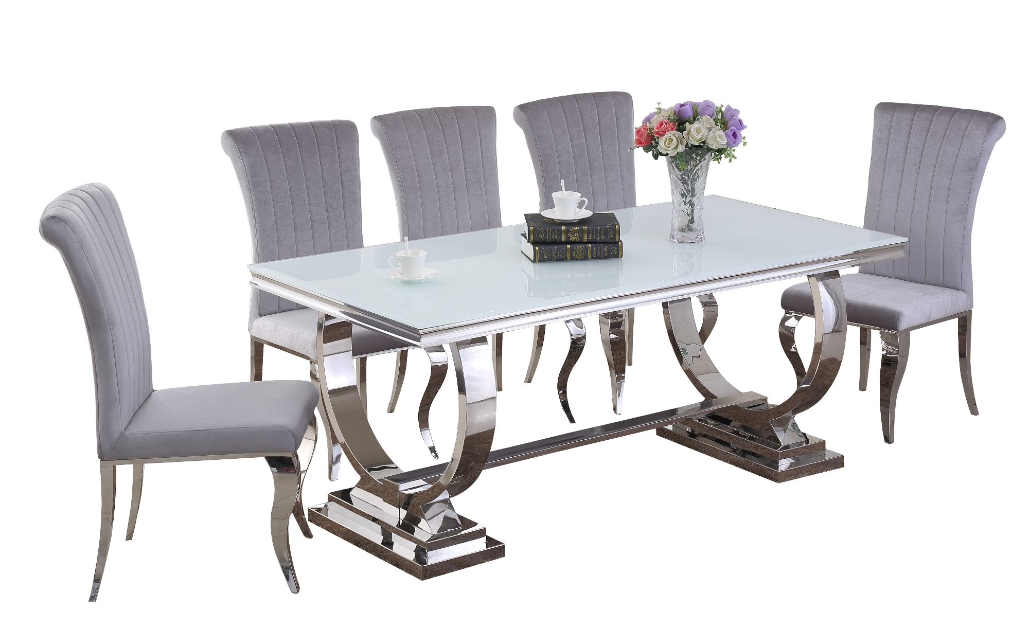 Venice White Dining Table DT-813WH & Liyana Grey Chair CH-891GR (white background)