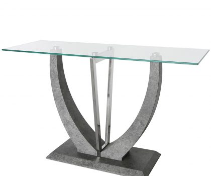 Glass console Table with V shaped metallic base