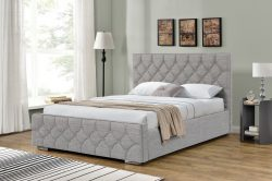 Arya Linen Light Grey Bed Ottoman Storage