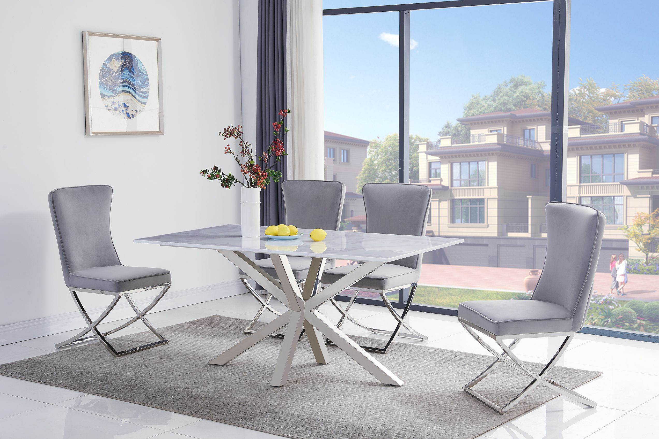 Riviera White 160cm Table DT-4000 & Belgravia Chair Light Grey CH-777