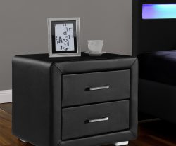 black leather bedside table