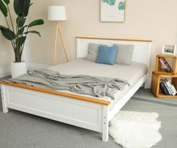 white wooden bed contrast