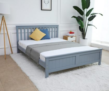 Grey wooden bed frame