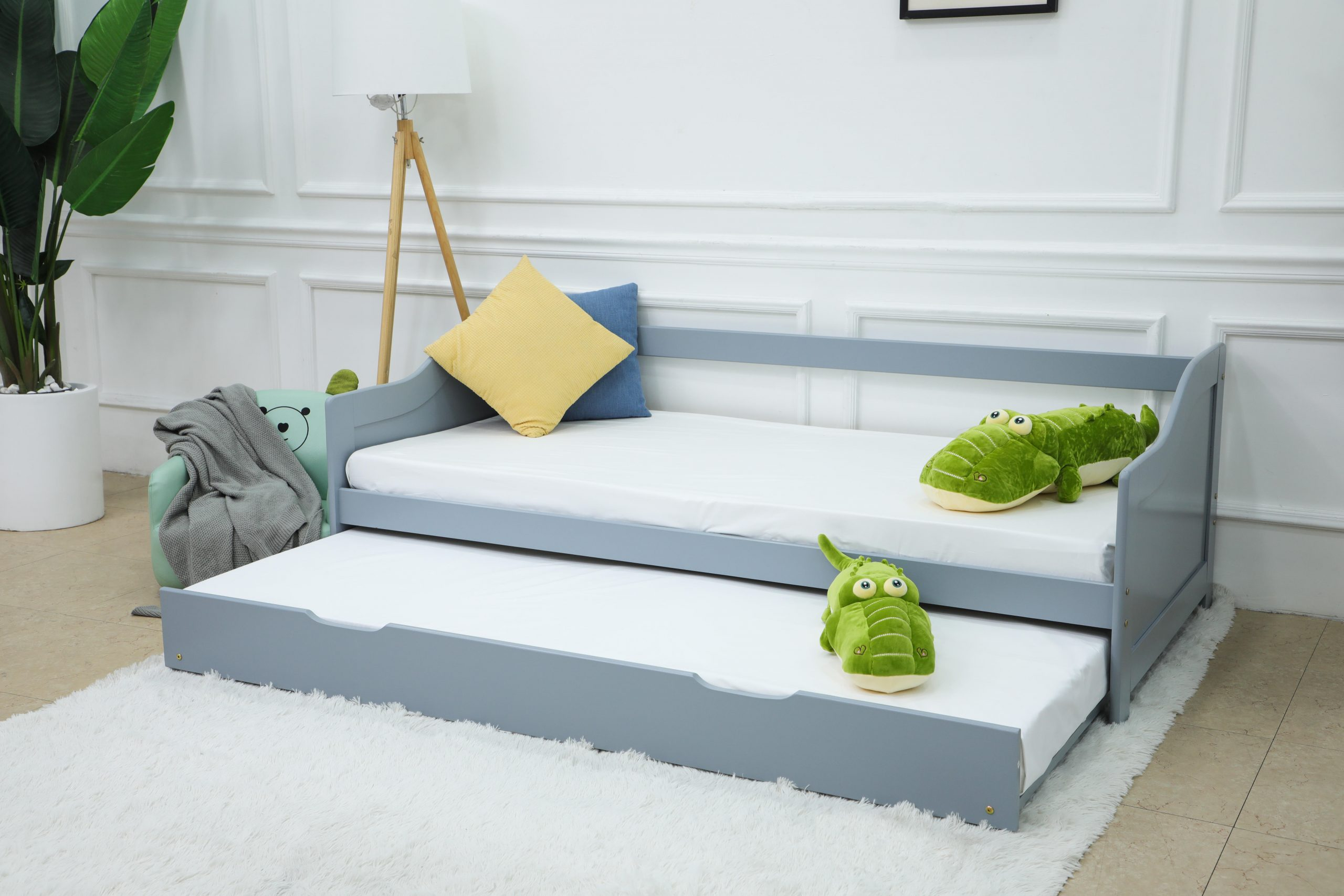 Picture of: Balmore Grey Wooden Pull Out Guest Bed Sofa Bed Modish Furnishing