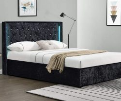 black crushed velvet bed with ottoman storage and LED headboard