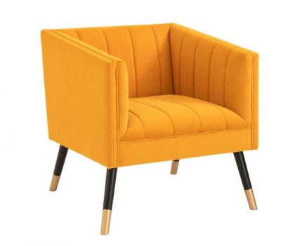 mustard yellow velvet fabric tub chair