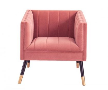 pink velvet fabric tub chair