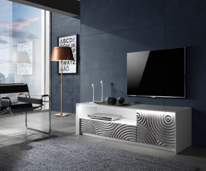 Grey and White TV Unit with LED Light and stone effect