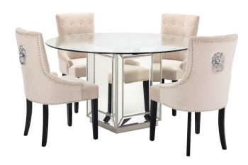 Sofia mirrored glass round dining table with four pink chairs