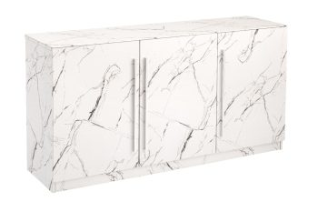 three door marble effect sideboard