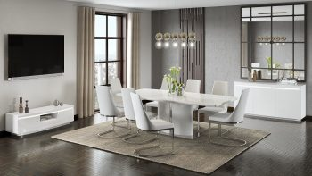 White high gloss living room furniture with extending dining table tv unit and sideboard