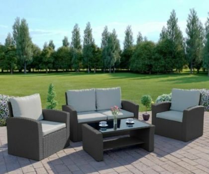 grey rattan garden furniture set with sofa chairs and table