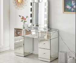 mirrored dressing table with mirror and lights and bluetooth speakers