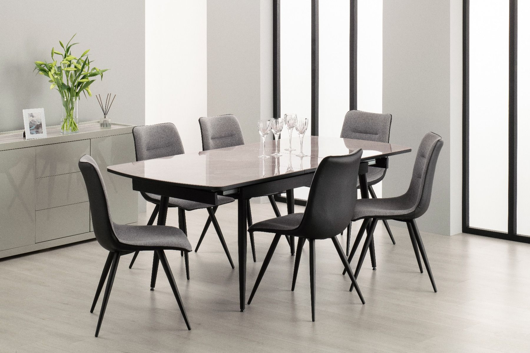 extending dining set with marble effect top and six chairs by derrys furniture