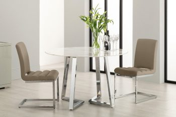 Derrys Storm round marble effect dining table with taupe dining chairs