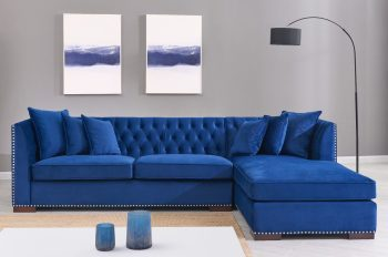 royal blue fabric corner sofa right facing