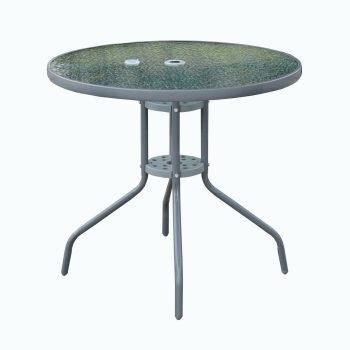 round glass garden dining table