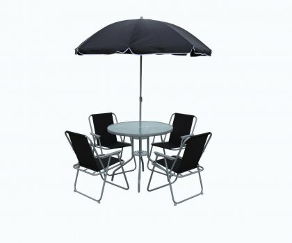 round glass dining set with umbrella for garden