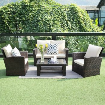 brown rattan garden furniture set with sofa chairs and table