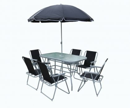 Garden dining table set with glass table and six chairs and umbrella