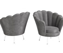 Dark Grey shell shaped lounge chair