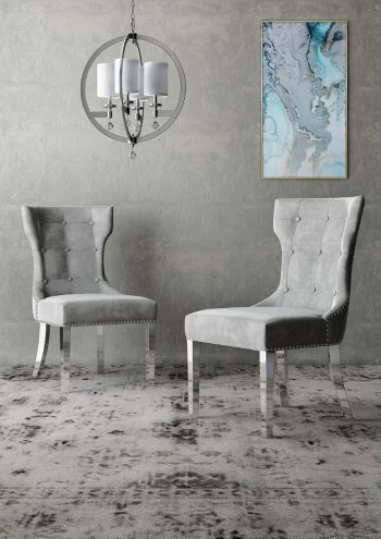 alisa grey leather dining chair with button design and silver legs