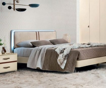 Camel Group Altea Ivory Bed with LED Headboard and bedside table