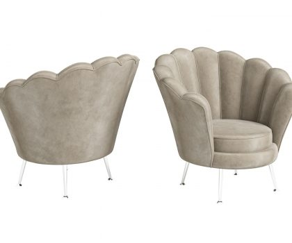 Mink shell shaped lounge chair