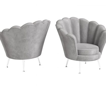 Silver shell shaped lounge chair