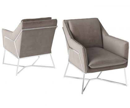 mink coloured fabric one seater lounger chair with stainless steel frame