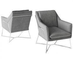 Silver fabric one seater lounge chair with stainless steel frame
