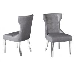 Grey leather dining chairs with studded design buttons and silver metal legs