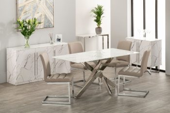 White marble dining table with steel frame and four taupe fabric dining chairs