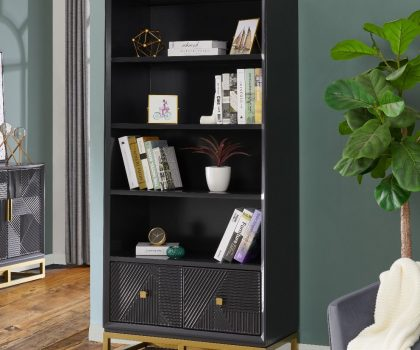 Dark wooden book case with gold handles and two drawers