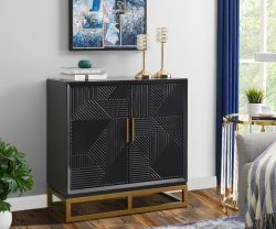 2 door sideboard with dark stained wood with golden handles from Derrys Furniture Orlando Range