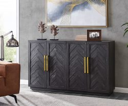 Derrys Furniture Hercules 4 Door Black Sideboard with Gold Handles