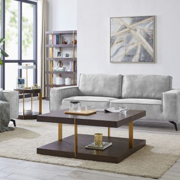 Wooden coffee table with gold legs