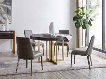 San Remo Round Wooden Dining Table with Gold Legs and four chairs derrys furniture