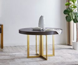 San Remo Round Wooden Dining Table gold Legs derrys furniture