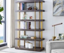 dark wood book case with gold frame