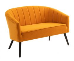 mustard yellow two seater sofa