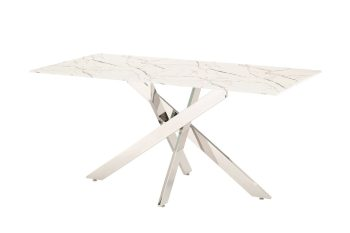 White marble dining table with steel frame