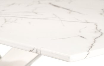 White marble effect dining table top