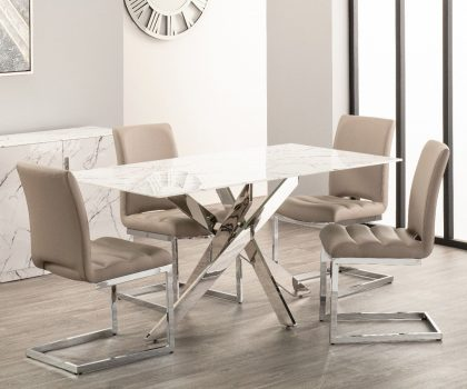 Derrys Furniture Arlo White marble effect dining table with four taupe dining chairs