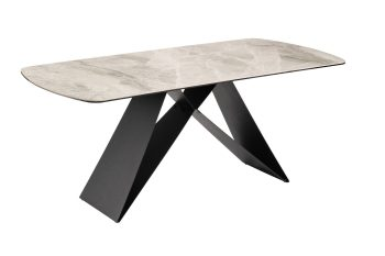 Reva Marble Effect Dining Table with Black Legs