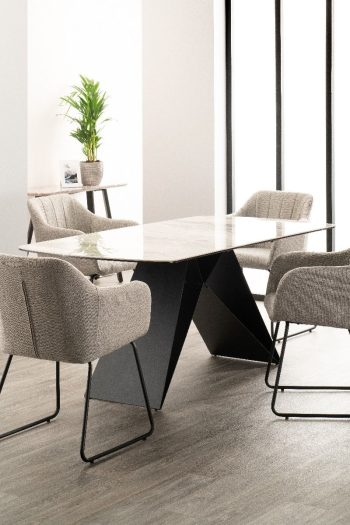 derrys reva marble effect dining table with four dining chairs