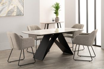 derrys reva marble effect dining table with four grey dining chairs