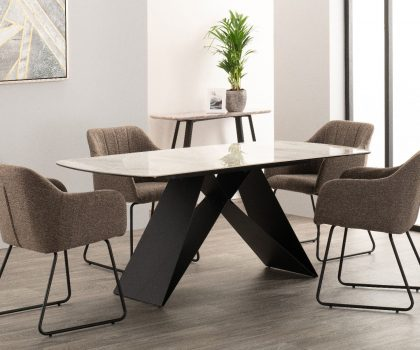 derrys reva marble effect dining table with four charcoal dining chairs